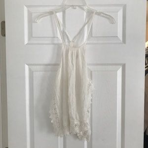 White boho top with crocheted trim